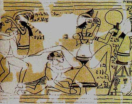Escena de un prostibulo en el Papiro Turin 55001. Periodo Ramesida, tiempos de Ramses II, Reino Nuevo Tardio. Actualmente en el Museo Egipcio de Turin