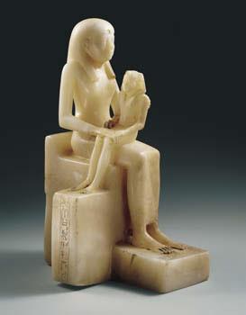 Estatuilla de la Reina Anjenes-Meryre II y el Rey-niño Pepi II procedencia desconocida, Dinastía VI (tempus Pepi II). The Brooklyn Museum, Brooklyn, N.Y., Charles E. Wilbour Fund, inv. n° 39.119