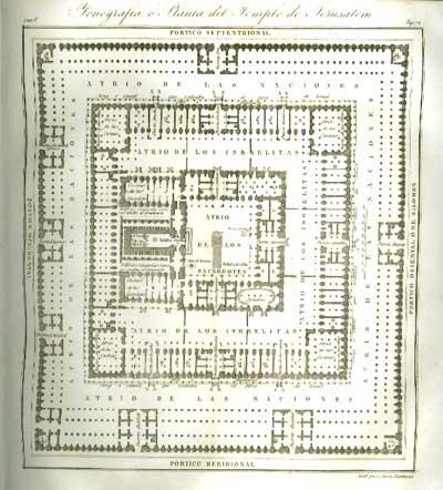 Planta del Templo de Salomón (Grabado del libro Introducción a la Sagrada Escritura de Bernardo Lamy Edición 1846)