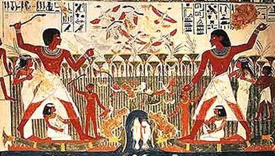 Escena de caza en los pantanos tumba de Nakht. TT52 Gurnah