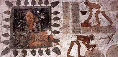 Un equipo de obreros haciendo adobes. Dos llevan agua desde el estanque en grandes jarras, otro está de pie sobre una mezcla de barro y paja, mientras que otro llena con ella un molde de madera, que lo añade a la hilera de adobes secándose. Piedra caliza policromada de la tumba de Rekhmire. Sheikh Abd el-Qurna. Tebas Occidental. XVIII. Extraída de Strouhal: La vida en el Antiguo Egipto, 1994, p. 68