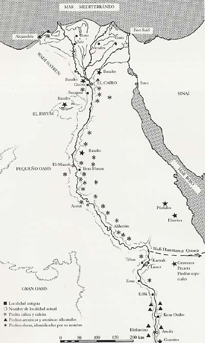 Mapa de Egipto con los tipos de piedra y zonas de canteras más importantes explotadas en la Antigüedad. Extraído de Schulz y Seidel (dirs.): Egipto. El mundo de los faraones , 1997, p. 411