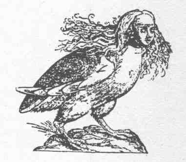 Representacion de una arpia o estriga, segun ilustracion de un manuscrito del siglo XVIII d.C.