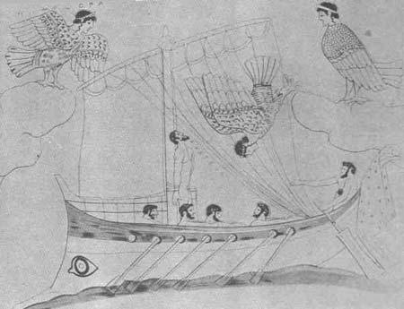 Curiosa representacion de las sirenas bajo la forma de arpias, acosando a Ulises con su -canto sobrenatural-. Vaso griego del siglo IV a.C.