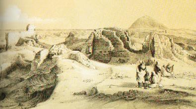 Vista panorámica del cementerio romano en Hawara, según una litografía del siglo XIX