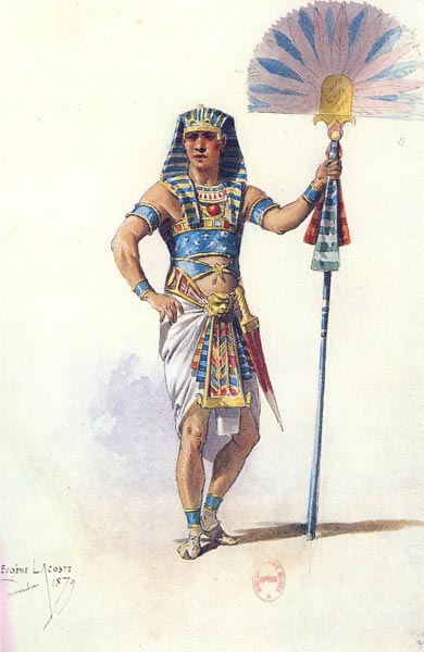 Estudio de la vestimenta egiptomaníaca de uno de los personajes del Aida para el 24 de diciembre de 1871 en El Cairo. Conservada en el departamento de música de la Biblioteca Nacional de París. Catálogo de la exposición Egiptomania, p. 431