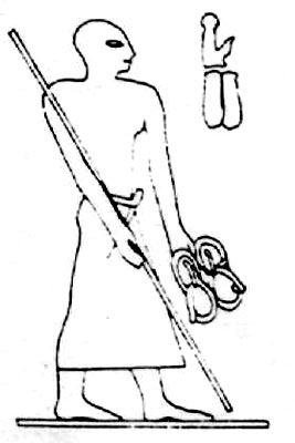Figura 2. En la tumba de Meir del funcionario Senbi aparece el portasandalias, fechado en la dinastía XII (2000 A.c.)