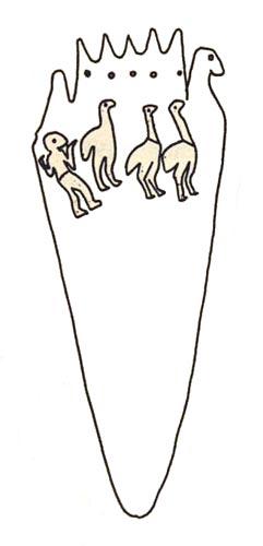 Fig. 10. Paleta de Manchester. B. MIDANT-REYNES, Préhistoire de l'Égypte, des premiers hommes aux premiers pharaons, París, 1992, p. 183, Fig. 10.a.