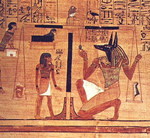 Fig. 13. Psicostasia del Libro de los Muertos de Ani. Museo Británico. Detalle de E. ROSSITER, Le Livre des Morts, 1984, p. 29.