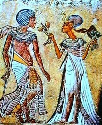 Tutânjamón y Ânjenespaamón. Museo Egipcio de El Cairo