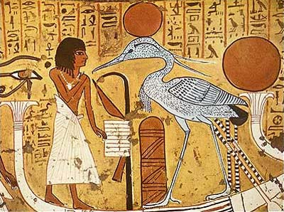 Adoración del Fénix por Sennodyem. Tumba TT 1 de Sennodyem. Deir el Medina - Diecinueve Dinastía