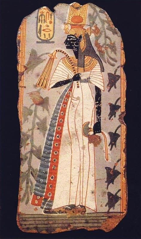 Foto 10. Fragmento de pintura mural del tumba de Kynebu. Ramésida. British Museum. Foto en G. ANDREU, La statuette d'Ahmès Néfertari, París, 1997, p. 43, 46
