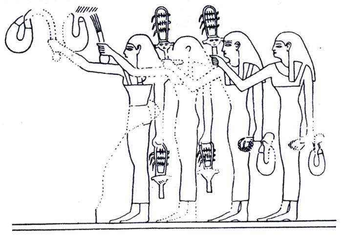 Foto 6. Menats y sistros agitados como instrumentos. Dinastía XVIII. TT39. En H. HICKMANN, La menat, Kemi 13, 1954, Fig. 4, p. 101.