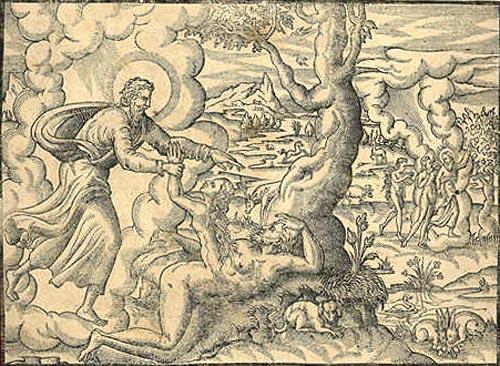 Adán y Eva representados en un grabado francés del siglo XVII