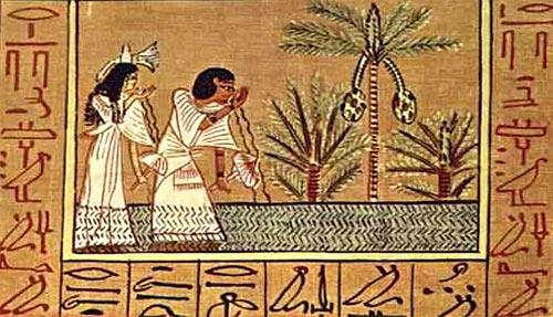 Fragmento del Papiro de Ani donde se aprecia el uso de tinta roja