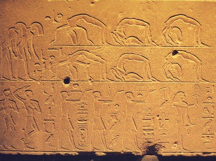 Fig. 4. Baile acrobático en un bloque de la Capilla Roja de Hatshepsut. Dinastía XVIII. Foto Susana Alegre García