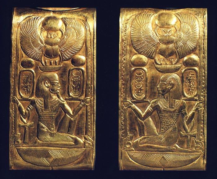 Foto 8. Detalles de una caja de cosméticos de Tutankhamón. Foto en Foto en H. STIERLIN, L'or des pharaons, París, 1993, p. 50.