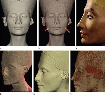 Desvelan un segundo rostro bajo el busto de Nefertiti