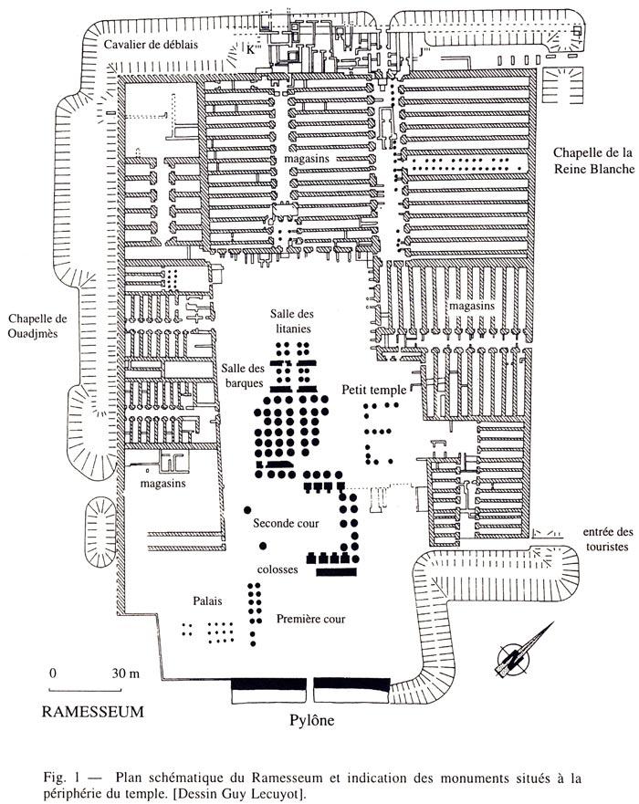 Fig. 2. Plano esquemático del Rameseo y de los monumentos situados en la periferia, al noroeste se encuentra la Capilla de la Reina Blanca. Plano de Guy Lecuyot en Memnonia VIII (1996), p. 23.