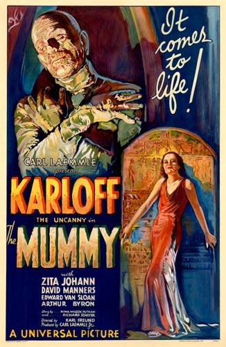 Foto 10. Cartel original del estreno de la La momia (The Mummy) de 1932, con Boris Karloff como protagonista.