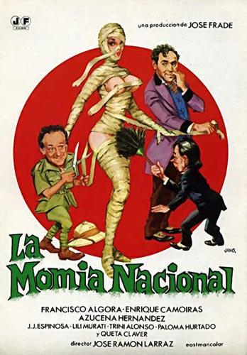 Foto 13. Cartel de la divertida película La momia nacional, dirigida por J. Ramón Larraz, en la que se parodia todo un género de las películas de terror.