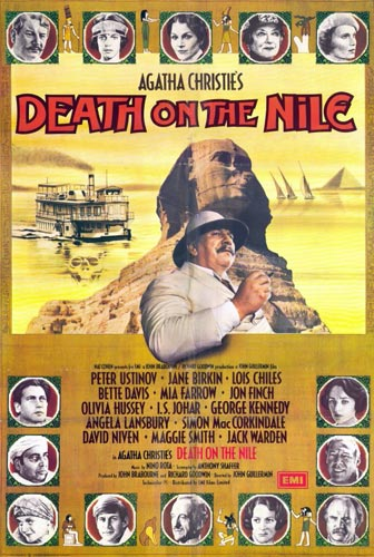 Foto 14. Cartel original de la película Muerte en el Nilo (1987) adaptación de una novela de Agatha Christie con Peter Ustinov en el papel del inspector belga Poirot.