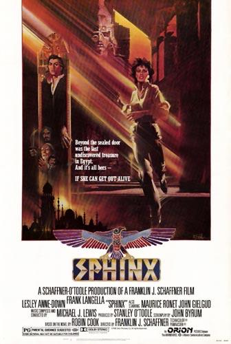 Foto 15. Cartel publicitario de la película La esfinge (1981) dirigida por Franklin J. Schaffner y protagnizada por Lesley Anne-Down y Frank Langella.