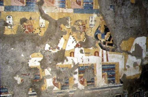 """Fig. 7. Ahmose-Nefertari entre los """"Señores del Oeste"""", antepasados representados en las tumbas (TT 359)."""