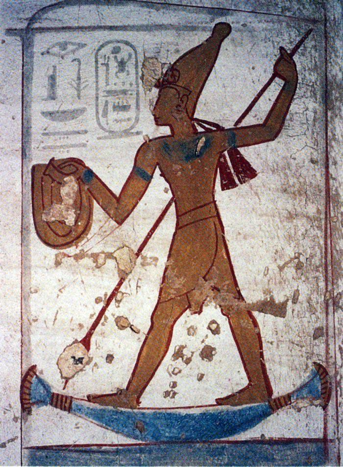 Fig. 12. Pintura de la tumba de Seti II. Foto en N. Reeves, R. H. Wilkinson, Todo sobre el Valle de los Reyes. Tumbas y tesoros de los principales faraones de Egipto, Barcelona, 1998, p. 152.